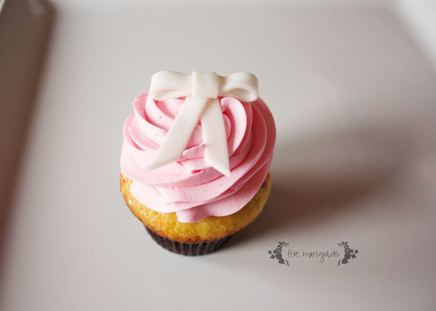 Baby Girl Bow Birthday Party Pink Cupcakes | Five Marigolds