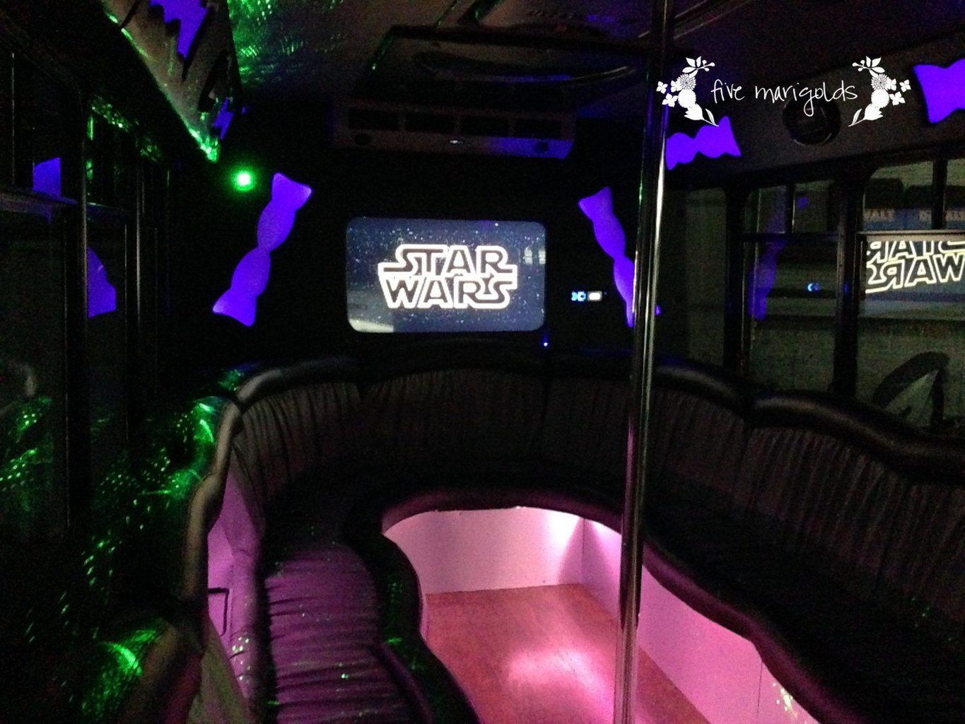 Star Wars Birthday Party Dark Side Movie Theater Party Bus | www.fivemarigolds.com