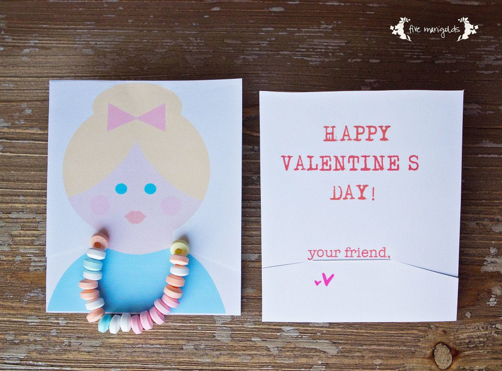 Candy Necklace Valentine Printable | Five Marigolds