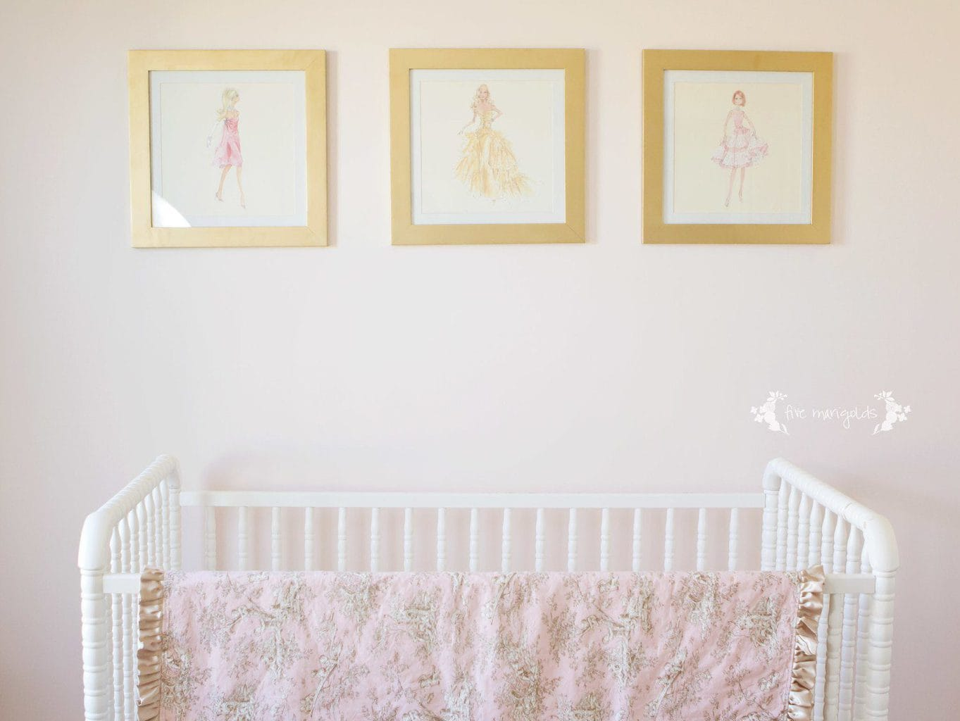 Sophisticated Blush and Gold Baby Nursery with toile accents and Jenny Lind crib | Five Marigolds