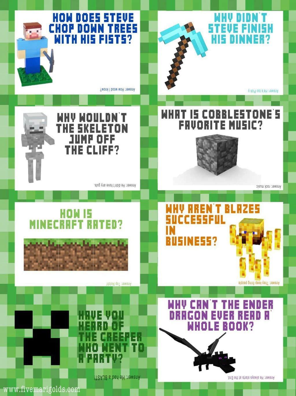 Free Back To School Printable Minecraft Lunchbox Jokes