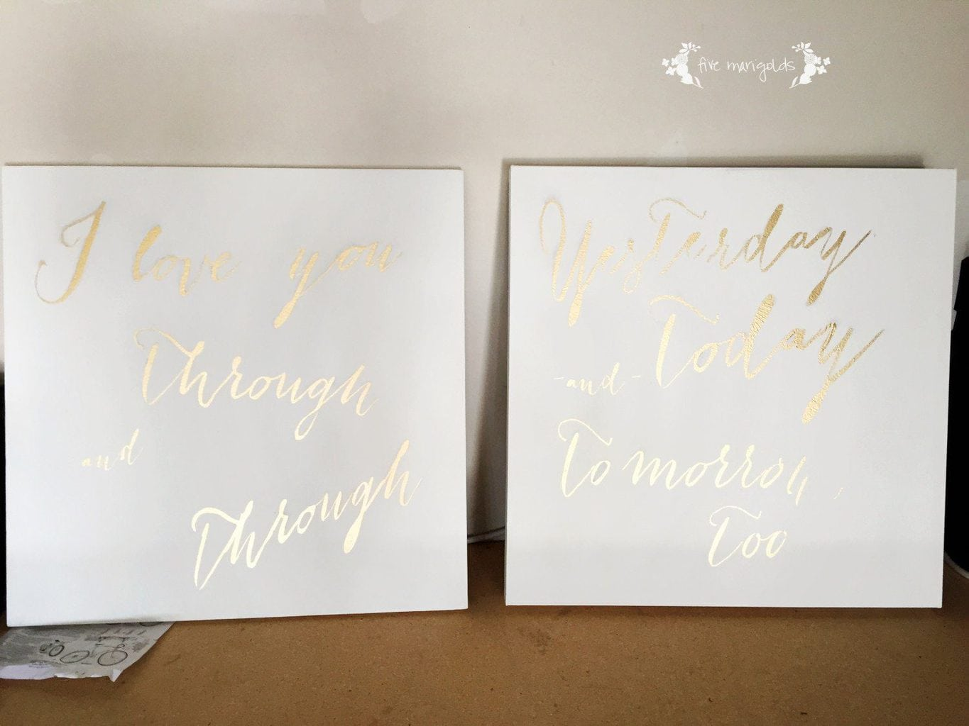 DIY Canvas for Baby Nursery: I Love You Through and Through | Five Marigolds