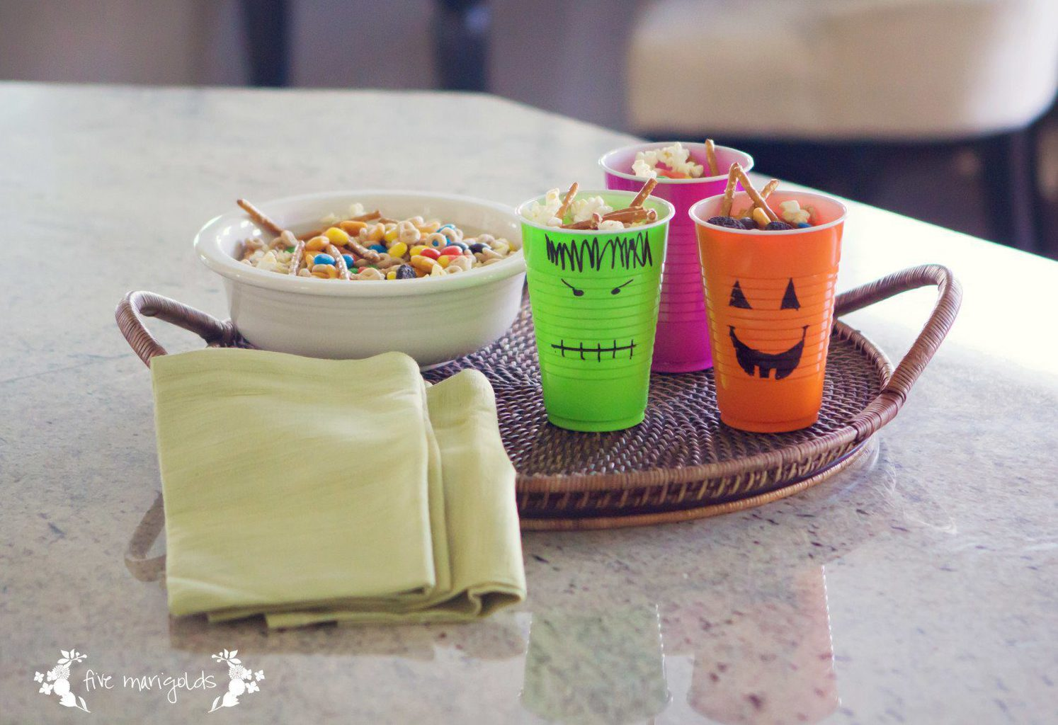 Monster Mix Halloween Trail Mix Recipe | Five Marigolds