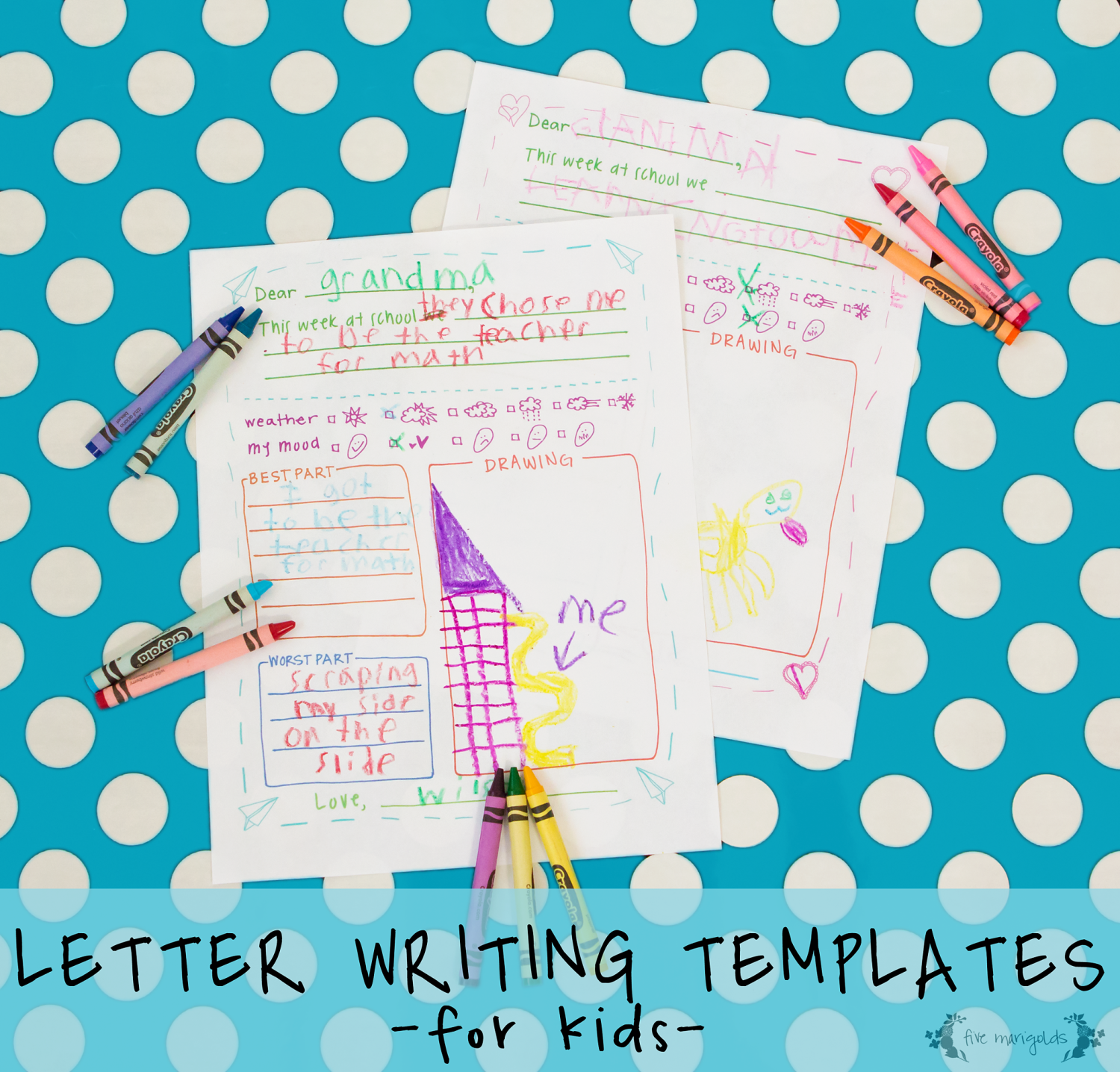 free printable letter writing templates for grandma pen pal five