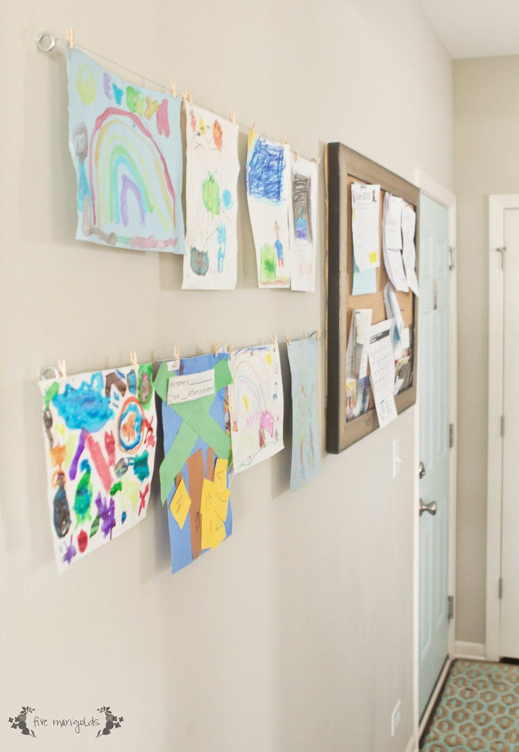 Mud Room Family Command Center DIY Kids' Art Display | Five Marigolds