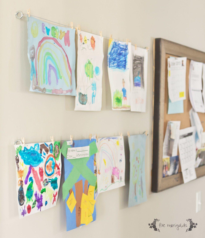 Mud Room Family Command Center DIY Kids' Art Display | Five Marigolds