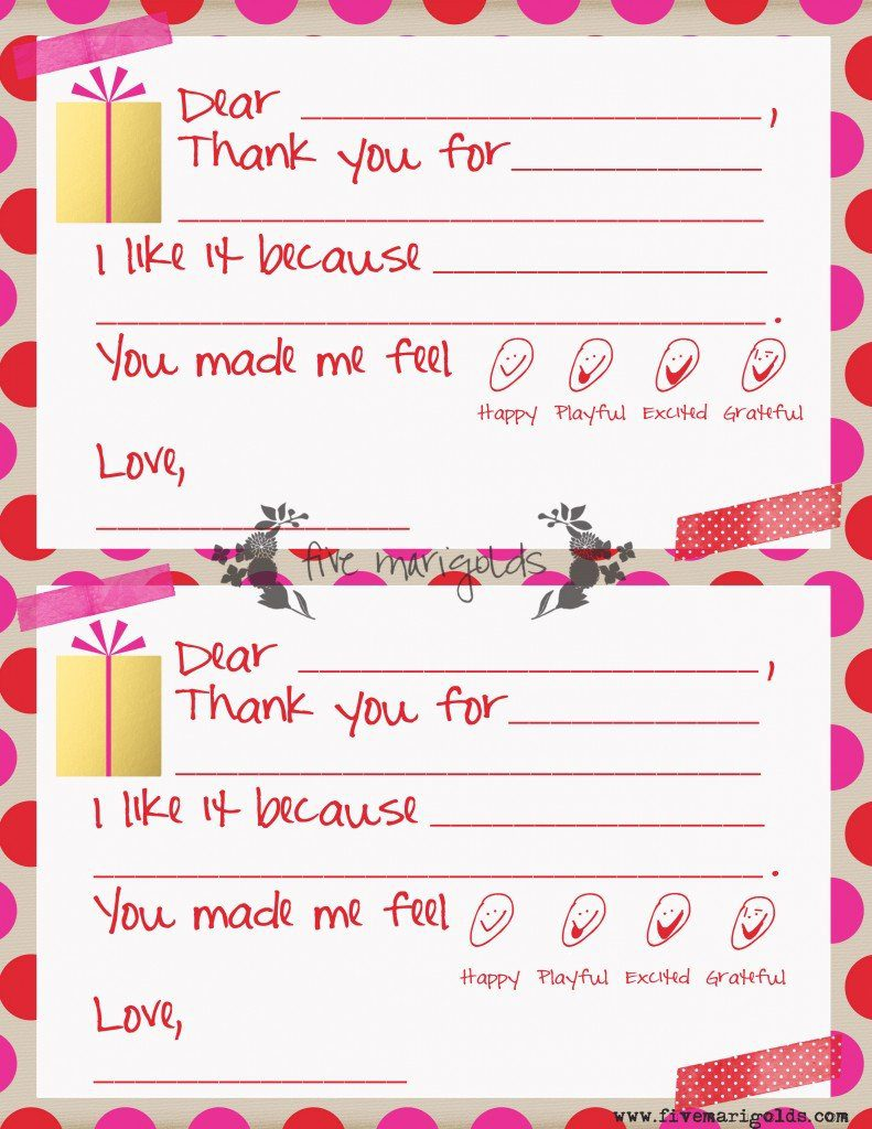 Christmas Thank You Note Templates for Kids - Five Marigolds