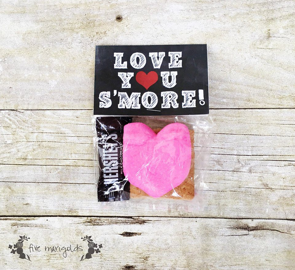 Love you S'More Valentine's Day Printable Tags | www.fivemarigolds.com