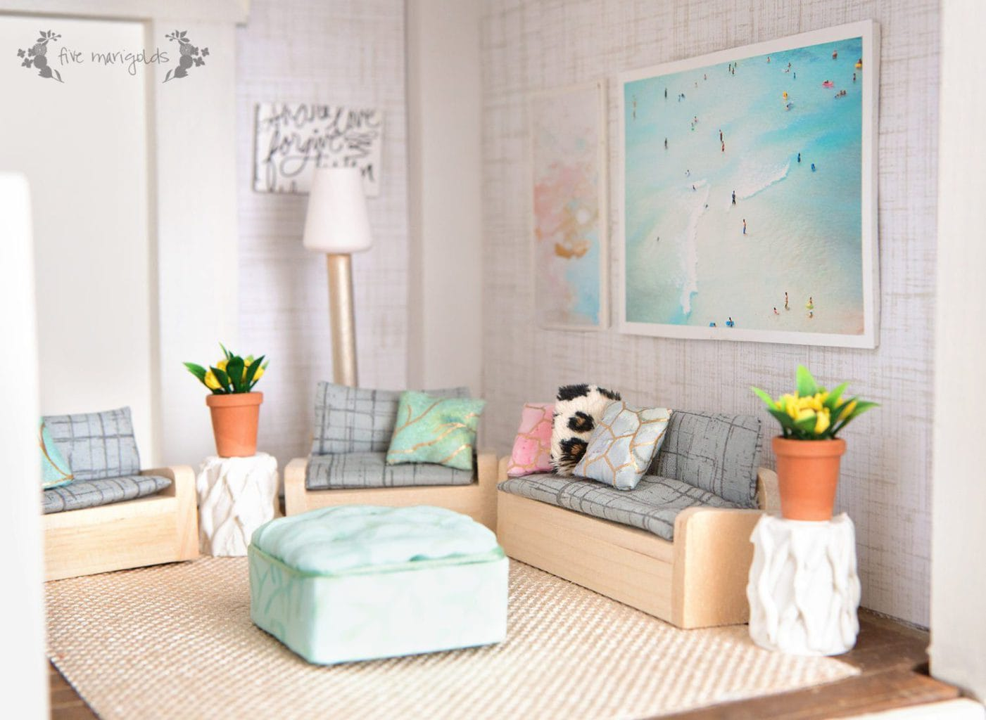 Vintage Dollhouse Remodel: Living Room for less than $10| www.fivemarigolds.com