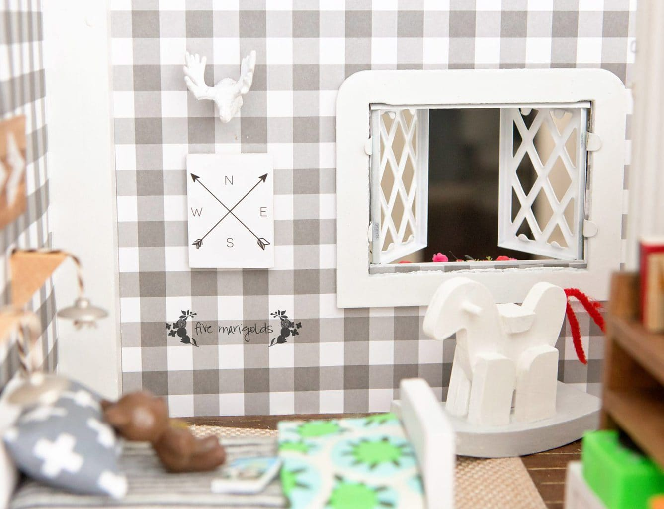 Vintage Dollhouse Makeover Boy Room | www.fivemarigolds.com