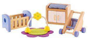 Hape Furniture. Vintage Dollhouse Remodel - Girl's Room Makeover under $10 | www.fivemarigolds.com