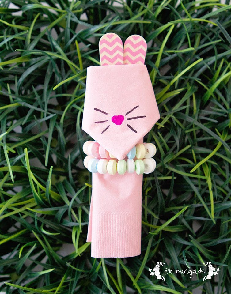 Easter Bunny Napkins with Candy Bracelet | Five Marigolds