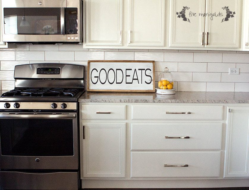 DIY Upcycled Good Eats Kitchen Sign | Five Marigolds
