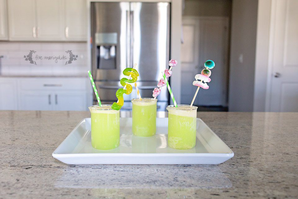Make this mean, green, Halloween punch with spooky skewers | Five Marigolds