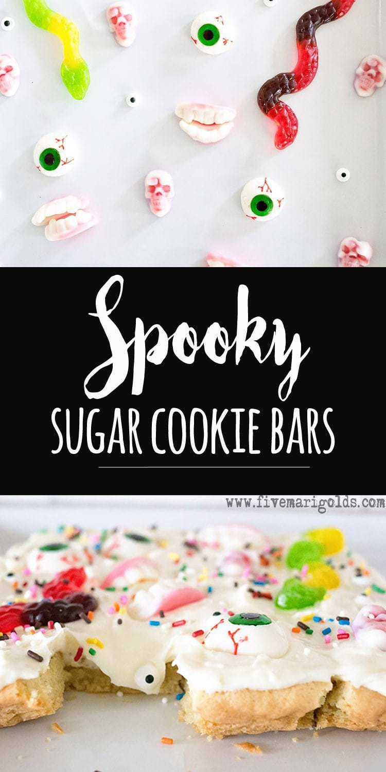Spooky and Sweet, these sugar cookie bars are perfect for your Halloween party!