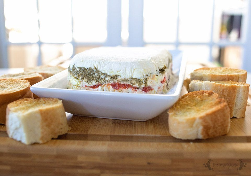 Pesto, Olive and Roasted Red Pepper Cheese Torta | Five Marigolds
