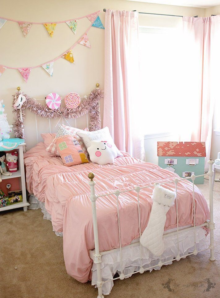 Christmas Chic Girl's Bedroom | Dance of the Sugarplum Fairy Bedroom Suite theme, with pastels, sparkles and sweets.