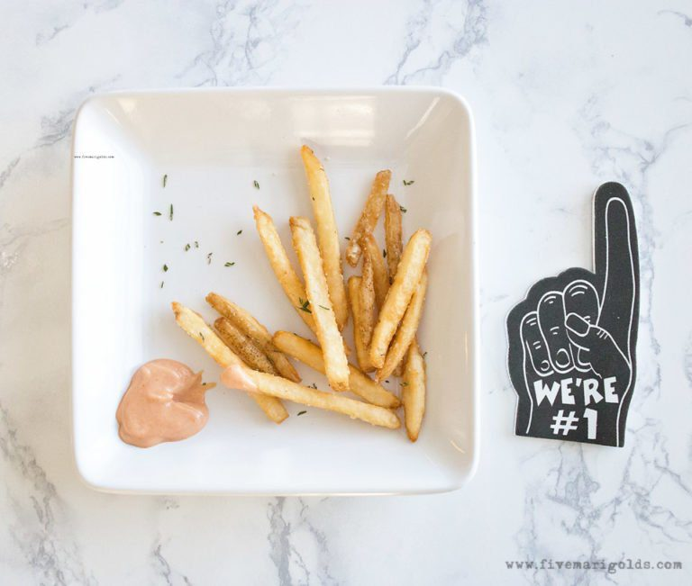Baked Rosemary Garlic Fries with Fancy Dipping Sauce appetizer recipe #ad #KetchupWithFrenchs