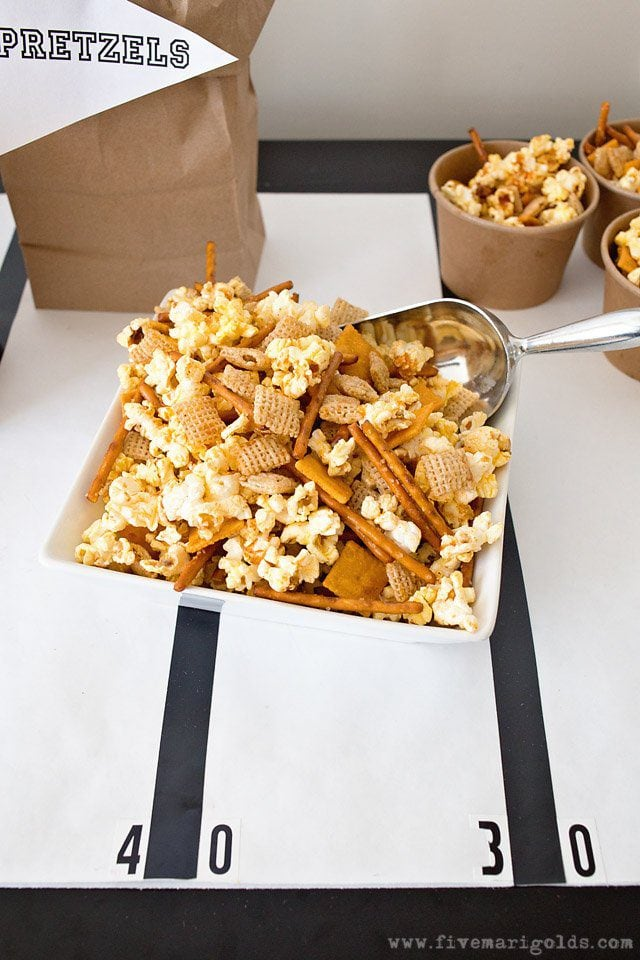 Sweet and Spicy Party Mix Recipes   Five Marigolds #ad #AllStarSnackBar