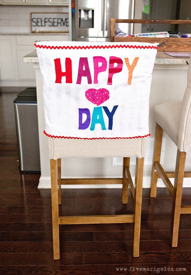 No-Sew Chair Cover and Free DIY Valentines Printables | Five Marigolds