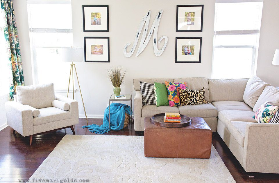 Clean and Colorful Living Room Makeover Final Reveal | Five Marigolds
