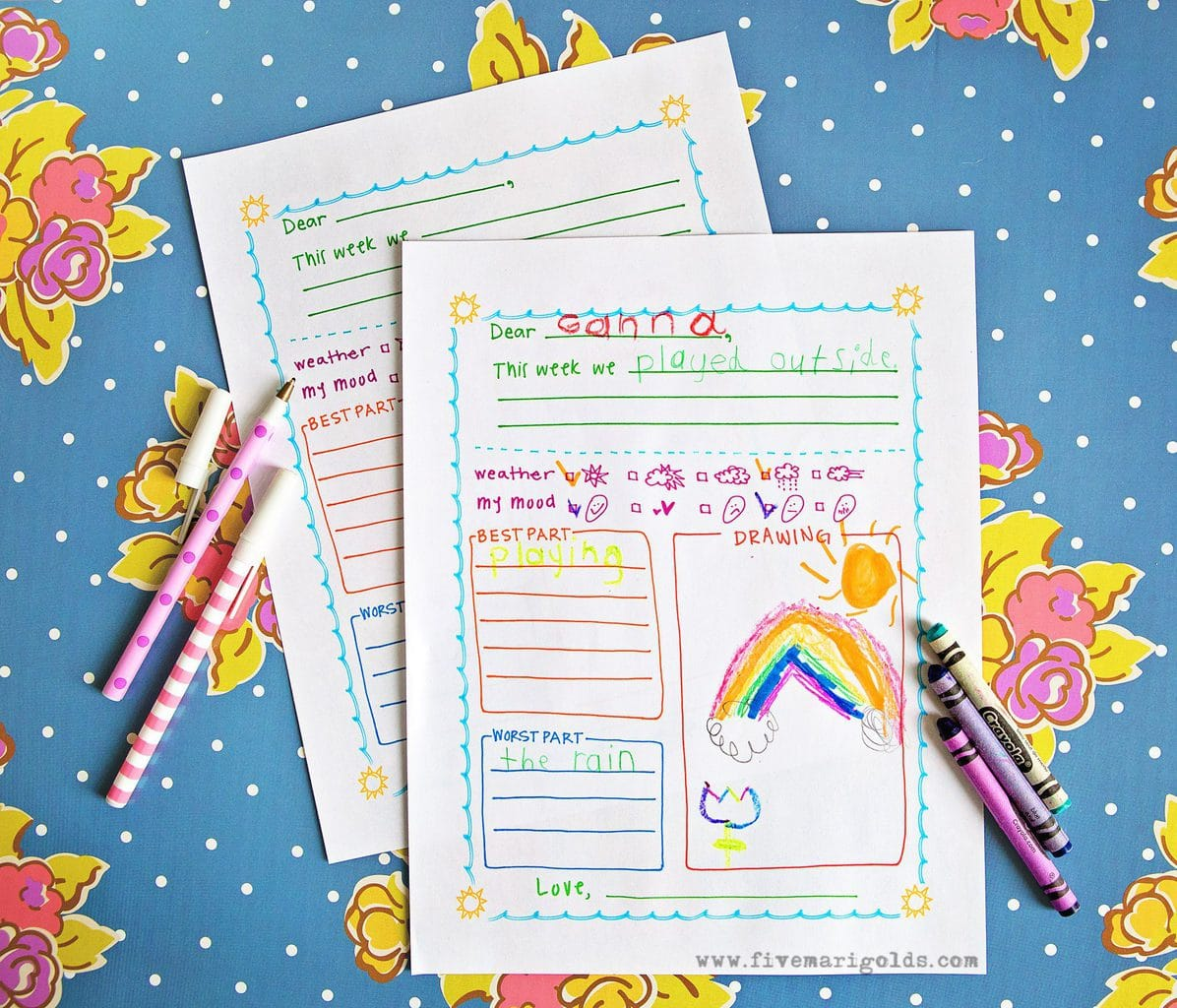 This free summer letter template for kids is great for pen pals, summer camp, and keeping in touch with pals and relatives over summer vacation!