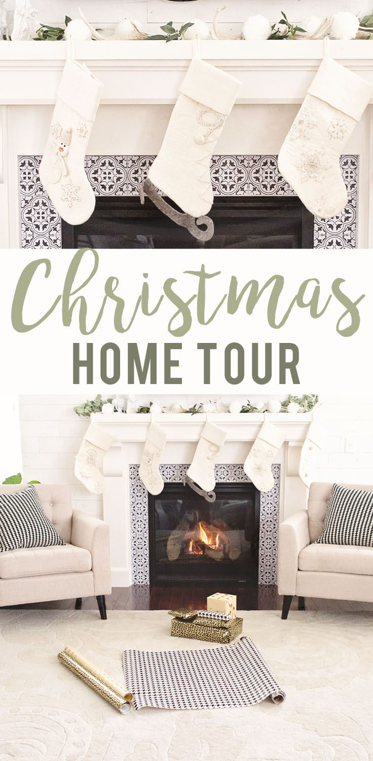 Modern Farmhouse Neutral Christmas Living Room and Mantle Home Tour | Five Marigolds
