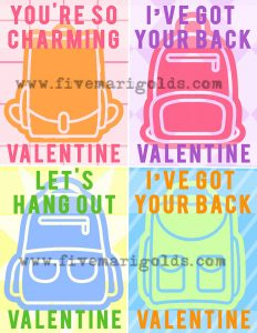 "colorful backpacks with contrasting backgrounds. Text reads, ""I've got your back."""