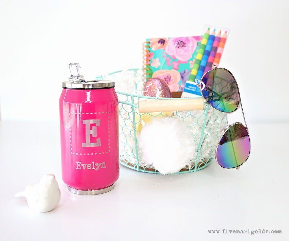Personalized drink cup with E monogram