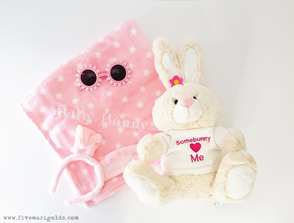 Stuffed bunny with some bunny loves you embroidered on sweater. No Candy Easter Basket