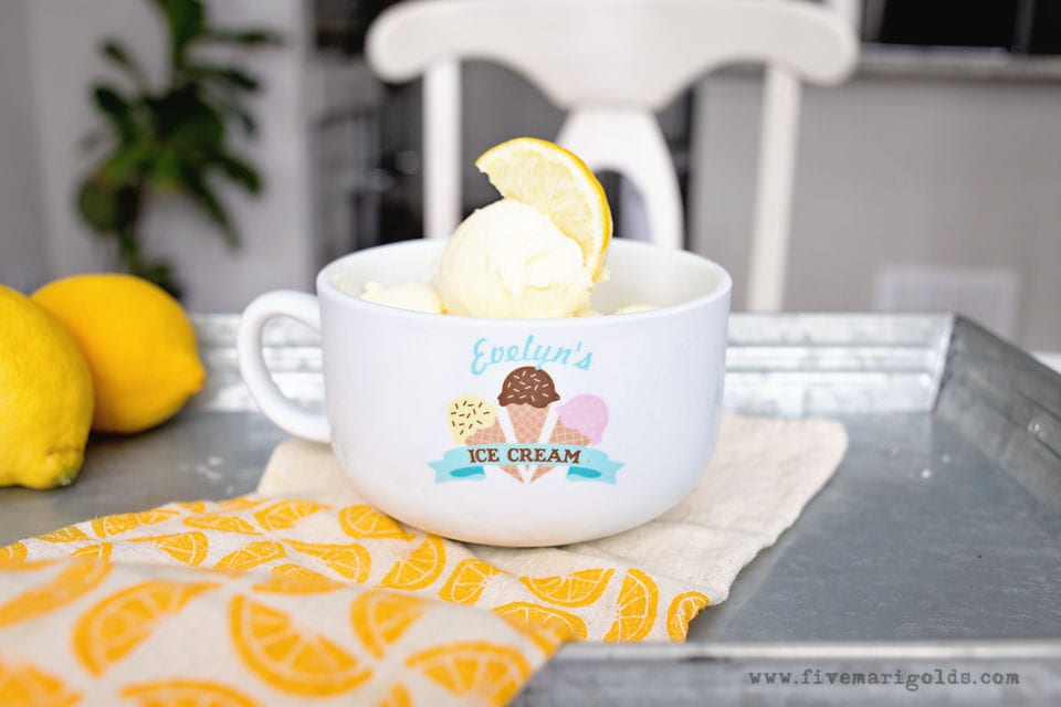 Creamy Lemon Vanilla Ice Cream | Five Marigolds
