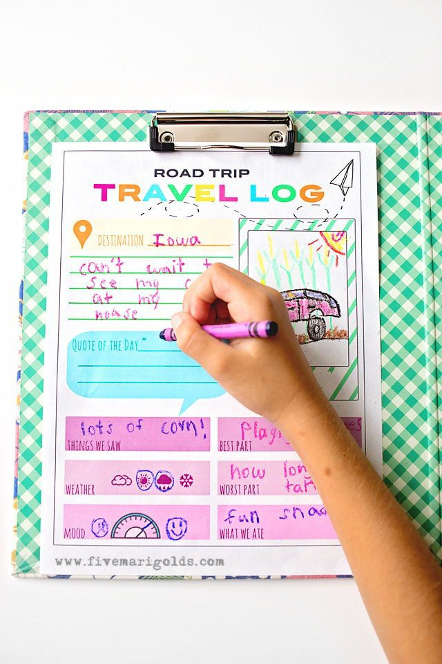 Free Printable Travel Journal for Kids - Road Trip Travel Tricks for Moms | Five Marigolds