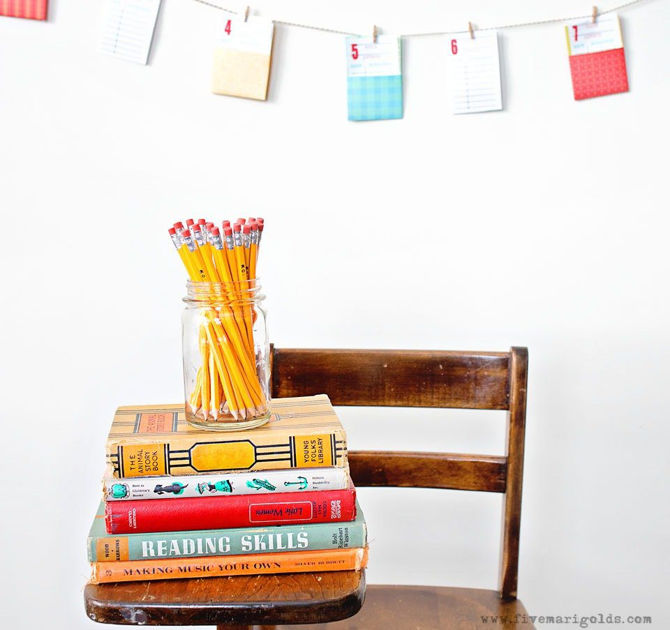 Back To School Countdown Banner with old fashioned library cards | Five Marigolds