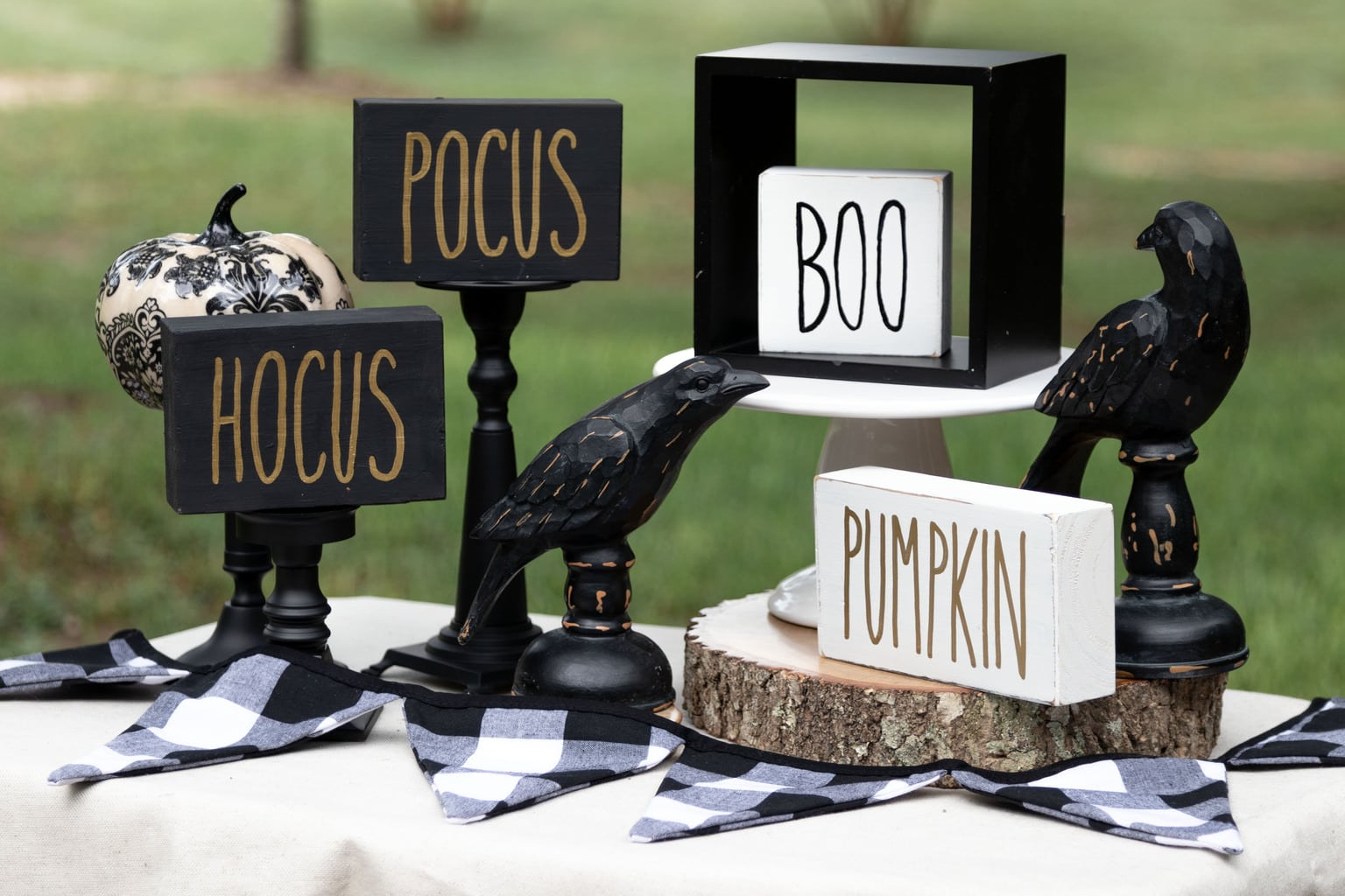 Free Printable Rae Dunn Inspired Halloween and Thanksgiving signs