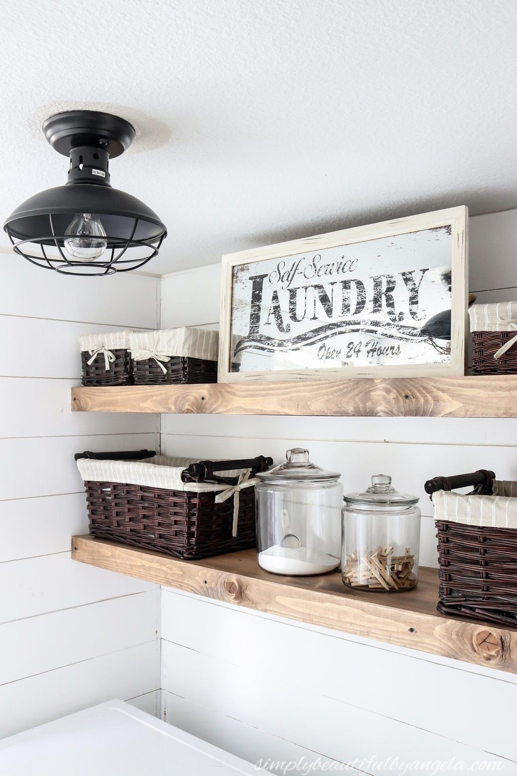 Before and After: DIY Rustic Farm House Laundry Room Floating Shelves