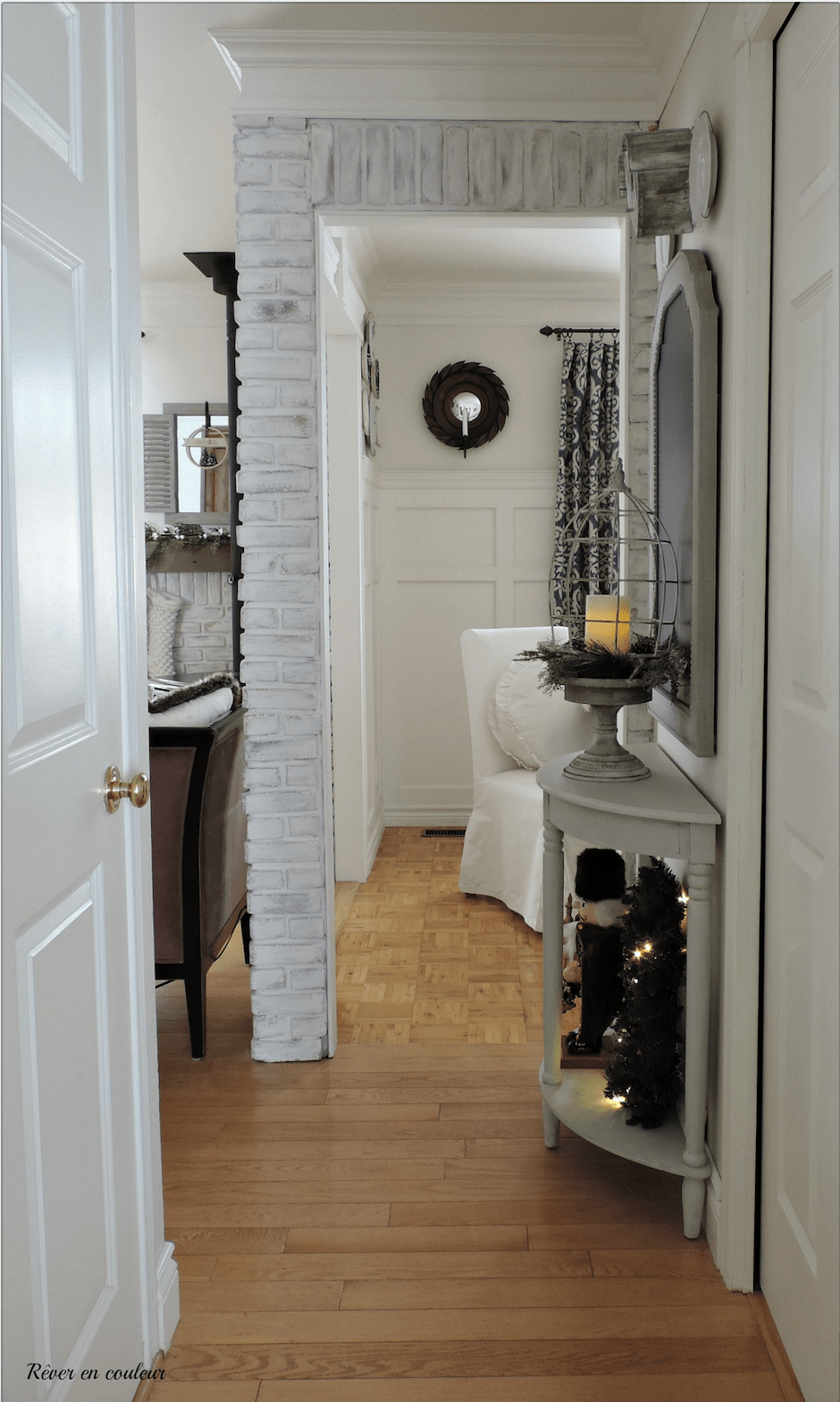 Limewashing brick - room makeover before and after