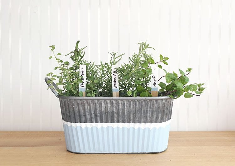 Top 20 best DIY Mother's Day gifts on a budget - Garden Gift Basket with DIY garden markers.