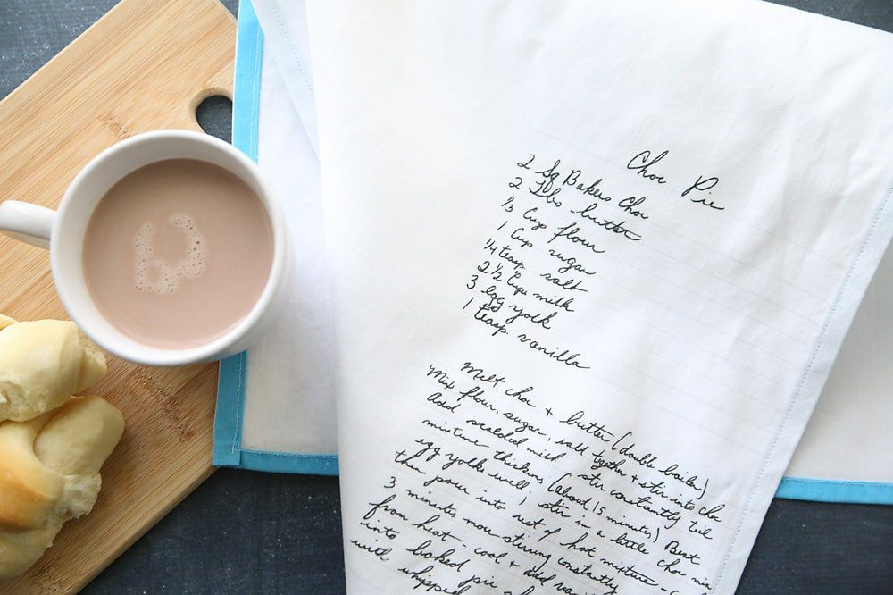 Top 20 best DIY Mother's Day gifts on a budget - DIY heirloom recipe tea towels.