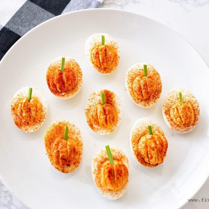 Roasted Red Pepper Deviled Egg Pumpkins