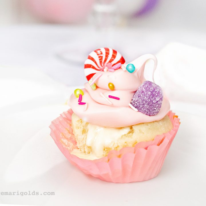 Sugarplum Fairy Nutcracker Cupcakes with White Chocolate Truffle Filling
