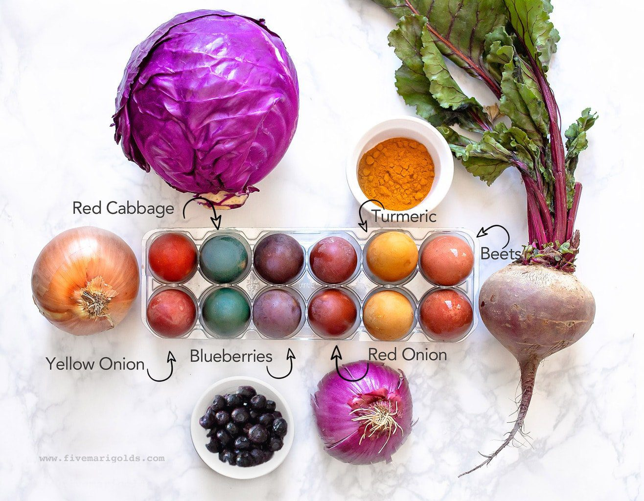 Naturally dye brown easter eggs with red cabbage, beets, red onions, yellow onions, turmeric, and blueberries