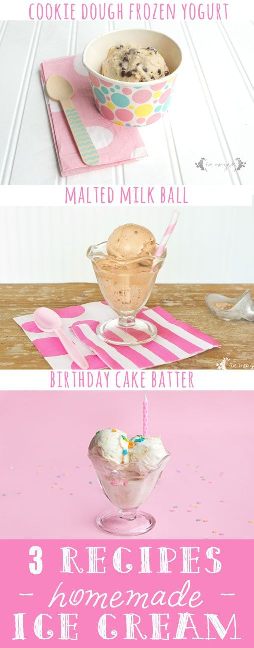 3 Recipes for egg-free, no churn, Homemade Ice Cream: Cookie Dough Frozen Yogurt, Malted Milk Ball, and Birthday Cake Batter | Five Marigolds