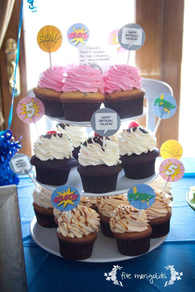 Super Hero Comic Book Birthday Party Custom Cupcake Toppers | Five Marigolds