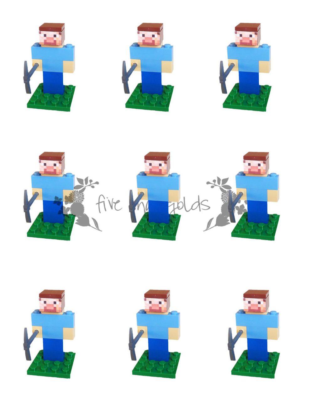 Minecraft Steve Lego Favor Insert Printable web  Five Marigolds