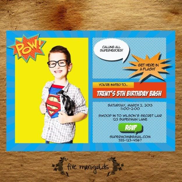 Super Hero Comic Book Birthday Party Invitation | Five Marigolds