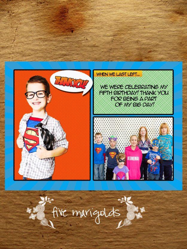 Super Hero Comic Book Thank You Postcard | Five Marigolds